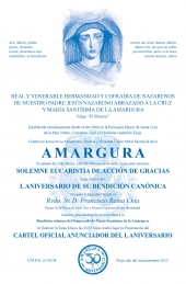 CONVOCATORIA EUCARISTIA ACCION DE GRACIAS L ANIVERSARIO MARIA SANTISIMA DE LA AMARGURA